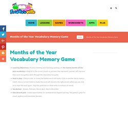 Months of the Year Vocabulary Memory Game for ESL Learners