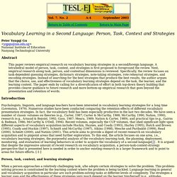 Vocabulary Learning in a Second Language: Person, Task, Context and Strategies