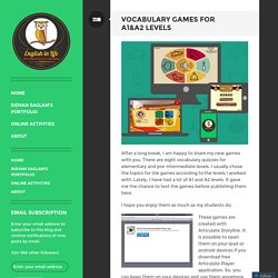 Vocabulary Games For A1&A2 Levels