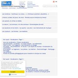 French vocabulary 2 - Lexique - Le climat - Les animaux - Sports et loisirs - Couleurs - Formes