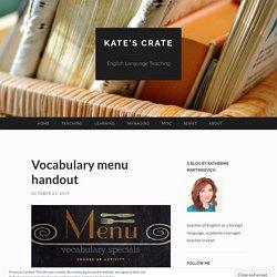 Vocabulary menu handout