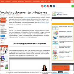 Vocabulary placement test - beginners