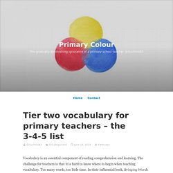 Tier two vocabulary for primary teachers – the 3-4-5 list – Primary Colour