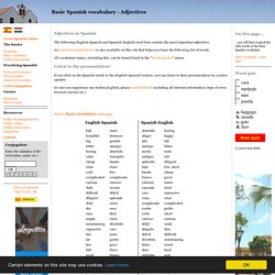 Basic Spanish vocabulary - Adjectives (with pronunciation!)
