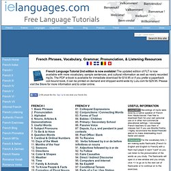 French Tutorials Index: Basic Phrases, Vocabulary, Grammar, and Pronunciation with MP3s and Exercises