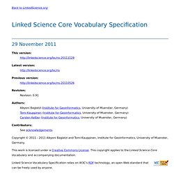 Linked Science Vocabulary Specification