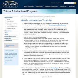 Ideas for Improving Your Vocabulary - Gallaudet University