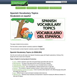 Vocabulary Notes and Lists - Vocabulario Español by Woodward Spanish