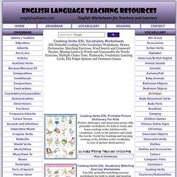 Cooking Verbs ESL Printable Vocabulary Worksheets