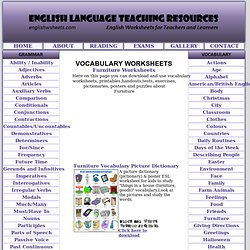 Furniture Vocabulary ESL Worksheets