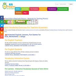 English Vocabulary Exercises Online, Printable Worksheets for Teachers and Fun Games