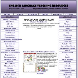 Places Vocabulary and Writing ESL Worksheets