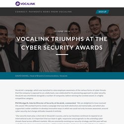 VocaLink Connect - VocaLink triumphs at the Cyber Security Awards