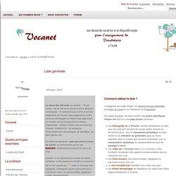 Vocanet - Liste générale