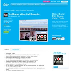 VodBurner video recorder | Extras - Skype
