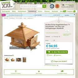 """Großes Eiche-Vogelfutterhaus """"4 Schubladen"""" mit Silo und Anflugstangen 49x49x39"""
