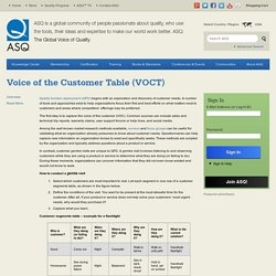 Voice of the Customer Table (VOCT)