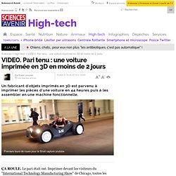 VIDEO. Pari tenu : une voiture imprimée en 3D en moins de 2 jours