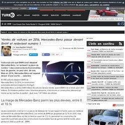 Ventes de voitures en 2016, Mercedes-Benz passe devant BMW et redevient numéro 1