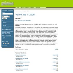 Digital Rights Management and Books: Library Technology Reports (vol. 56, no. 1)