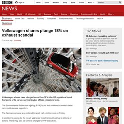Volkswagen shares plunge 18% on exhaust scandal - BBC News