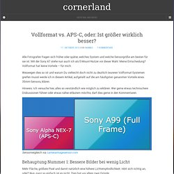 Vollformat vs. APS-C, oder: Ist größer wirklich besser? › cornerland