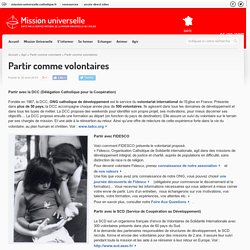 Partir comme volontaires - Mission universelle