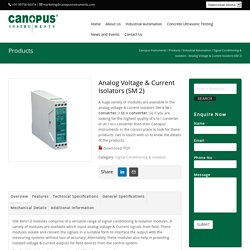 Analog Voltage & Current Isolators