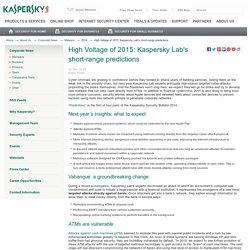 High Voltage of 2015: Kaspersky Lab's short-range predictions