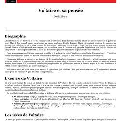 Voltaire et sa pensée