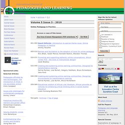 Volume 5 Issue 3 Online Pedagogy in Practice - International Journal of Pedagogies & Learning