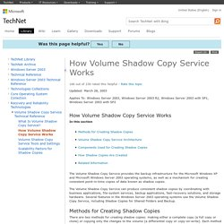 How Volume Shadow Copy Service Works: Data Recovery