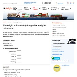 Air freight volumetric (chargeable weight) calculator