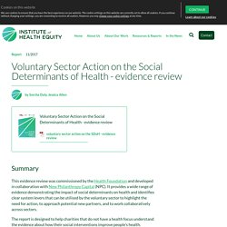 Voluntary sector action on the social determinants of health - IHE