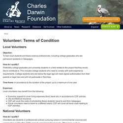 Volunteer: Terms of Condition - Charles Darwin Foundation