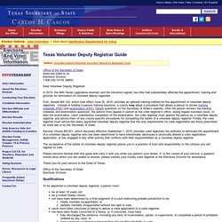 Texas Volunteer Deputy Registrar Guide