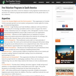 Free Volunteer Programs in South America