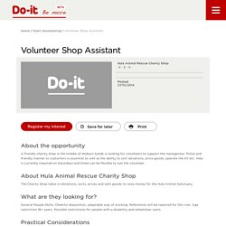 Volunteer Shop Assistant - Do-It - Be More