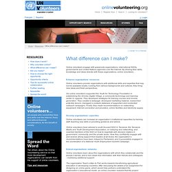 UNV Online Volunteering Service | What difference can I make?