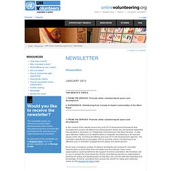 UNV Online Volunteering Service | Newsletter