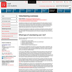 Volunteering overseas - Finding an Opportunity - LSE Volunteer Centre - Careers and vacancies - Staff and students