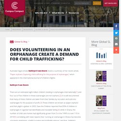 Orphanage Volunteering and Child Trafficking