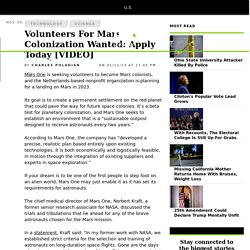 Volunteers For Mars Colonization Wanted: Apply Today [VIDEO]