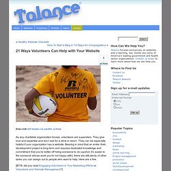 21 Ways Volunteers Can Help with Your Website | Talance Friendly