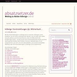 InDesign Voreinstellungen (9): Wörterbuch…