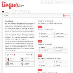 Vorstellung auf Deutsch - Text zum Lesen für Anfänger
