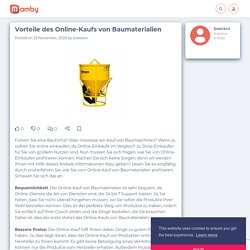 Vorteile des Online-Kaufs von Baumaterialien - Mamby
