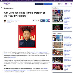 Kim Jong Un voted Time's Person of the Year by readers