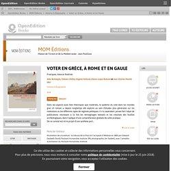 Voter en Grèce, à Rome et en Gaule - MOM Éditions