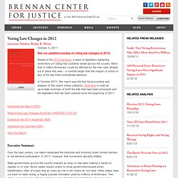 Voting Law Changes in 2012 | Brennan Center for Justice